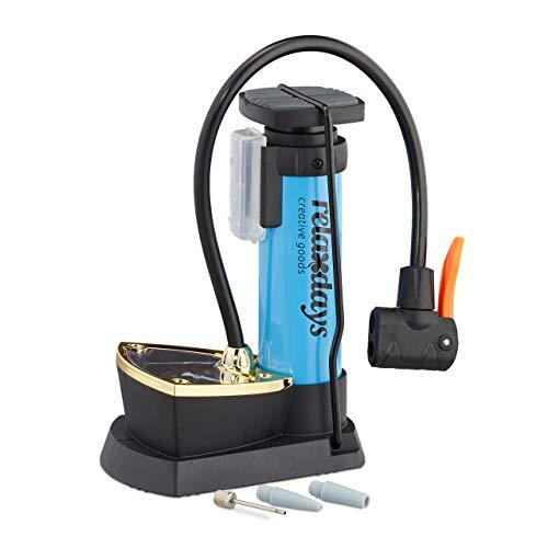 Relaxdays Unisex– Erwachsene Fußpumpe mit Manometer, alle Ventile, 3 Aufsätze, 10 bar Druck, Fahrrad, Ball, HBT: 18,5 x 14 x 9,5 cm, blau, 1 Stück