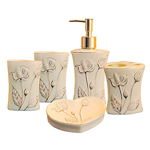 Dispensador de jabón para baño Accesorios de baño de cerámica Conjunto de 10 piezas Dispensador de jabón Tenedor de cepillo de dientes enjuague bucal Taza y jabonera, kit de baño de hotel de bodas Dis