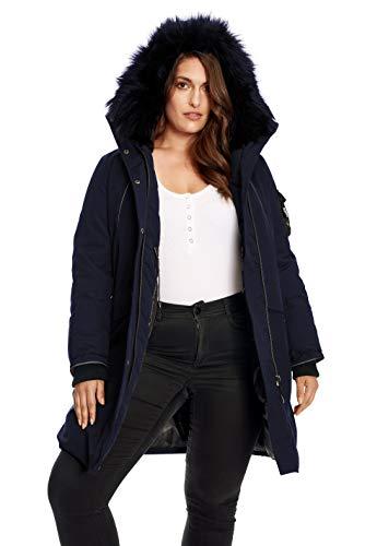 Alpine North Women's Plus Size Vegan Down Long Parka with Faux Fur Hood, Navy, 3X