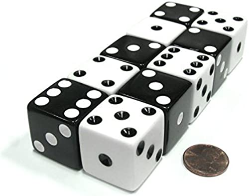 Set of 10 Inverse D6 25mm Large Opaque Jumbo Dice - 5 Each of Weiß and Black by Koplow Games