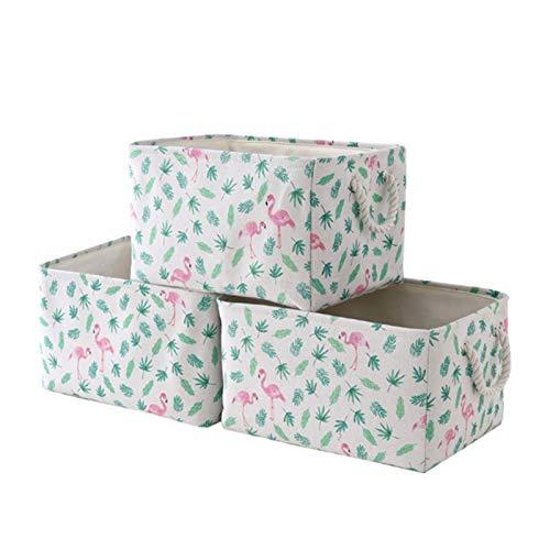 HOMEsn Conjunto De Caja De Almacenamiento De Armario De Escritorio Plegable, Estilo De Almacenamiento De Estilo Rústico Impresión De La Cesta 40 Cm X 30 Cm X 21 Cm 3 Paquete