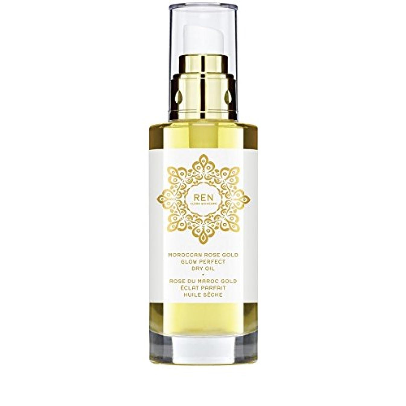 嫌悪与える受取人モロッコは金が完璧なドライオイル100ミリリットルグローバラ x2 - REN Moroccan Rose Gold Glow Perfect Dry Oil 100ml (Pack of 2) [並行輸入品]