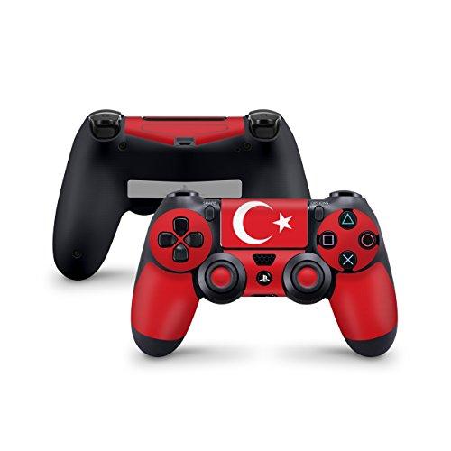 Skins4u Aufkleber Skin Designfolie Controller Schutzfolie kompatibel zu Sony Playstation 4 Controller PS4 Türkei Flagge rot