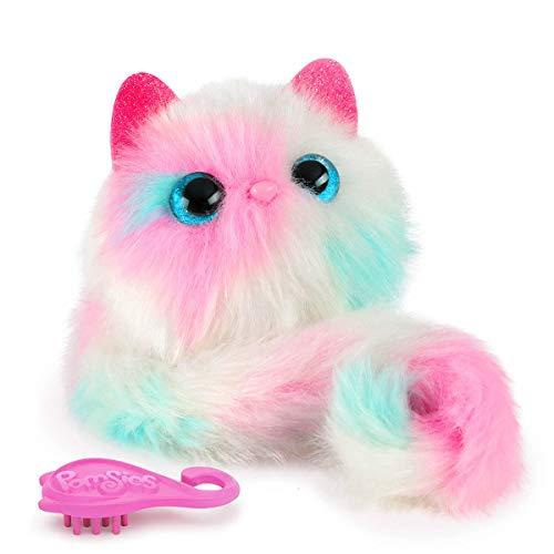 Bandai– Pomsies– Snowball– Kätzchen in den Farben rosa, weiß und blau– Interaktives Kuscheltier, das sich überall befestigen lässt– 80730