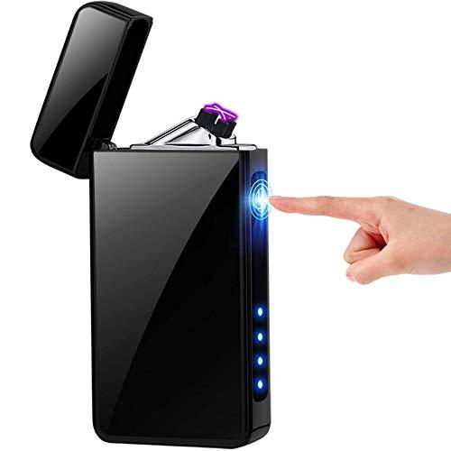 ESACLM Encendedor de Plasma USB Recargable Doble Arco Beam Resistente al Viento Sin Llama Mechero con Indicador de Batería para Velas de Cigarrillos,Negro