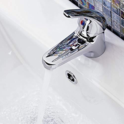 Wasserhahn Einhebel Armatur Waschtischarmatur Waschbeckenarmatur Waschtisch Mischbatterie für Bad Chrom - 3