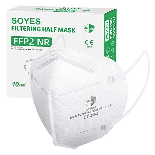 SOYES Maske FFP2/KN95 4-lagige Atemschutzmaske - 10 Stück Staubschutzmaske - Mundschutzmaske Gesichtsmaske