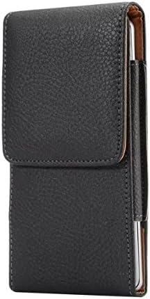 Vertical PU Leather Cellphone Belt Clip Holster Pouch Case Compatible Samsung Galaxy S9 Plus / J7 Prime 2 / On7 Prime / J7 Refine(2018) / J7 Star/Google Pixel 3 XL/Alcatel (Fit with a Thin Case)