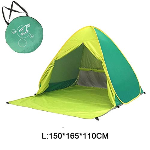 Mdsfe Beach Camping Tent Pop Up Automatic Open Family Ultralight Folding Tourist Fish Anti-UV Fully Sun ShadeTent 2-5 Persons XA164A-Yellow Green WL