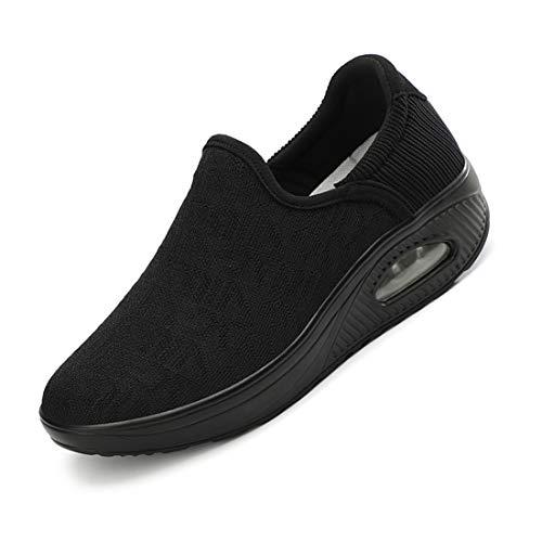 [Regibelie] 船型底ナースシューズ レディース ダイエットシューズ レース 厚底スニーカー 姿勢矯正 ダイエット 美脚 軽量 ローファー ウォーキングシューズ 看護師 作業靴 歩きやすい 疲れない 婦人靴 厚底シューズ 黒い ブラック 22.5c