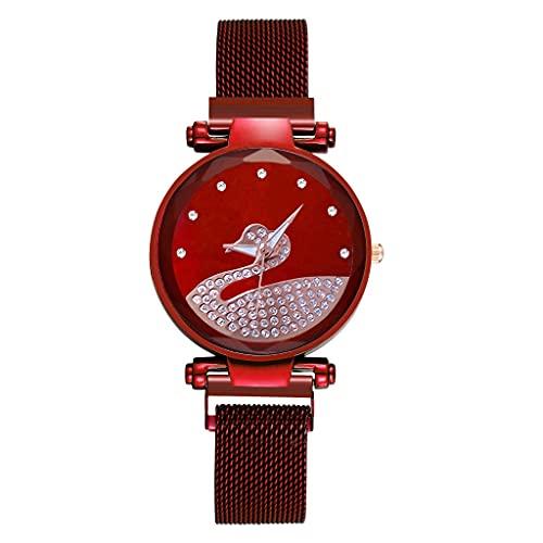 CXJC Moda Reloj de Mujer con patrón de Cisne de Diamantes de imitación. Reloj de Cuarzo magnético de cinturón de Malla milanesa (Color : UN)