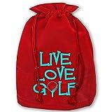 Hangdachang Live Love Golf1 - Bolsa con cordón para Navidad, diseño con texto en inglés 'Live Love Golf'