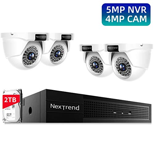 Home Security Cameras System, 8 Channels Video Surveillance Camera System, 4MP Wired Waterproof Outdoor Night Vision Security PoE IP Cameras, 5MP NVR with 2TB Hard Drive for 24/7 Recording