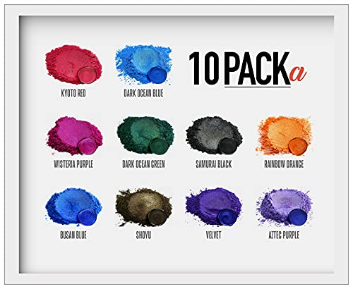 Eye Candy Mica Powder - Pigment Powder 10-Pack Set A - Colorant for Epoxy - Resin - Soap Molds - Candle Making - Slime - Bath Bombs - Nail Polish - Cosmetic Grade - Non-Toxic