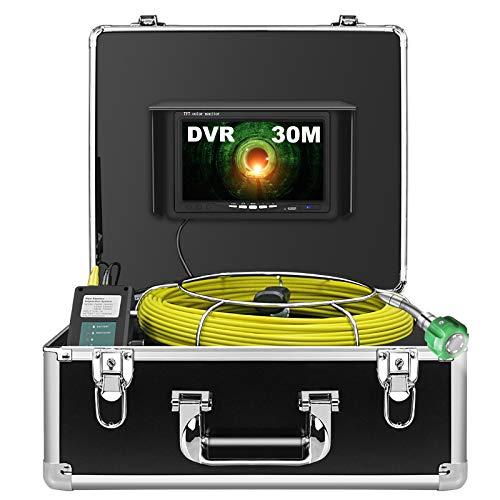 Telecamera per Fognatura 30M, Telecamera per Ispezione Tubi con DVR Endoscopio Industriale di Ispezione della Conduttura Impermeabile IP68 con 1000TVL CCD di Sony e 7' LCD (Scheda SD da 8GB Inclusa)