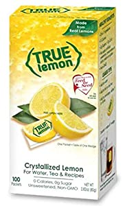 TRUE LEMON Water Enhancer, Bulk Dispenser Pack (100 Packets) | Zero Calorie Unsweetened Water Flavoring | For Water, Bottled Water, Iced Tea & Recipes | Water Flavor Packets Made with Real Lemons by Grand Brands Dba True Citrus