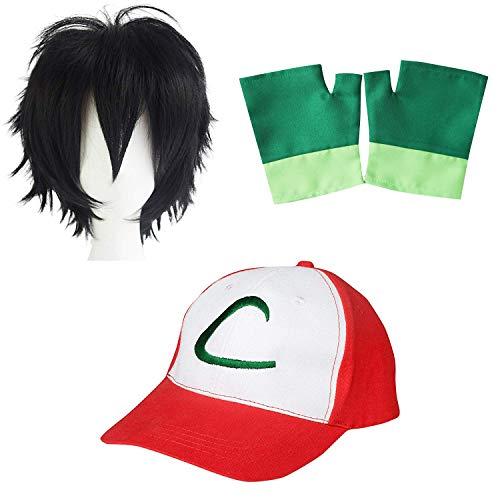 Pokemon Trainer Ash Ketchum Cap Gorra + Guantes + Peluca - Conjunto de Disfraces para Adultos y Niños Carnaval y Cosplay - Mujeres Hombres