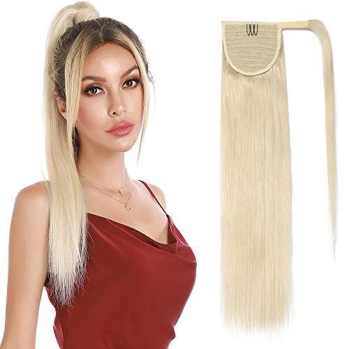 Queue de Cheval Cheveux Naturel Extension Rajout Vrai Cheveux Humain Lisse - Ponytail Hair Extensions Attaché par Bande Agrippantes Adhésives - #60 BLOND PLATINE - 20 Pouce