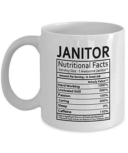 Taza de café de conserje - Regalos de conserje Etiqueta de información nutricional de conserje - Regalos de mordaza para Navidad, mujeres, hombres - Idea de regalo para taza de conserje, taza