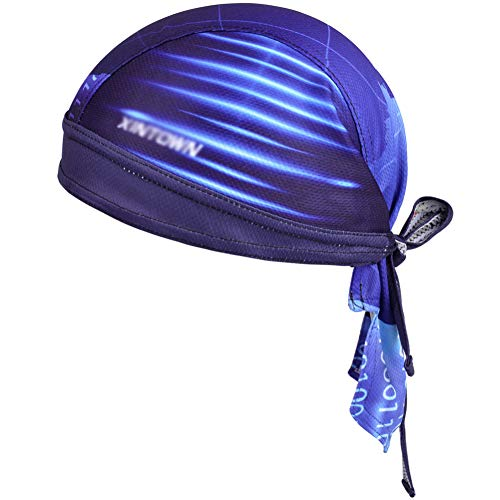 Vbiger Bandana, Durag-Radkappe, unter Helm, Kopfbedeckung, verstellbar, zum Radfahren, schnell trocknend, Sport-Kopfbedeckung für Männer und Frauen Gr. Einheitsgröße, blau