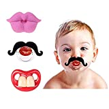 Baby Funny Pacifier Cute Kissable Mustache Pacifier for Babies and Toddlers Unisex - 0-6 Months Baby Orthodontic Mustache Pacifier BPA Free -Pack of 3