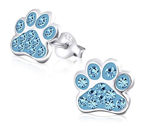 Laimons Mädchen Kids Kinder-Ohrstecker Ohrringe Kinderschmuck Hundepfote Pfote Pfötchen Tatzen mit Glitzer in hell Blau 9mm aus Sterling Silber 925