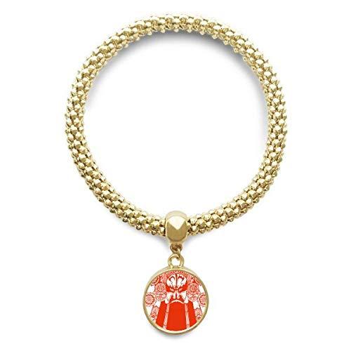 DIYthinker Damen Rot-Oper Gesichtsmaske Papier-Schnitt goldene Armband Laufende Anhänger Schmuck-Kette