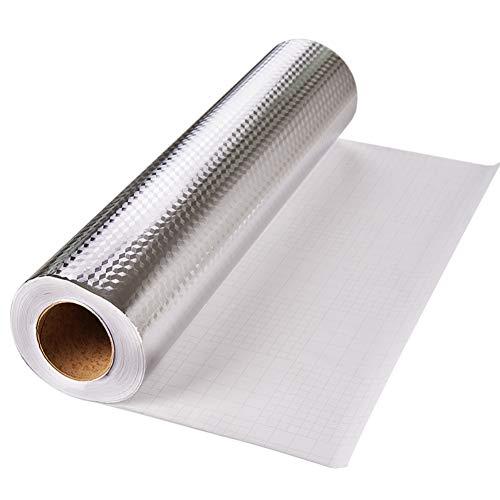 Yija Kitchen Backsplash Self-Adhesive Aluminum Foil Texture Oil and Dust Resistant Removable High Temperature Resistant DIY Wallpaper Kitchen Stickers