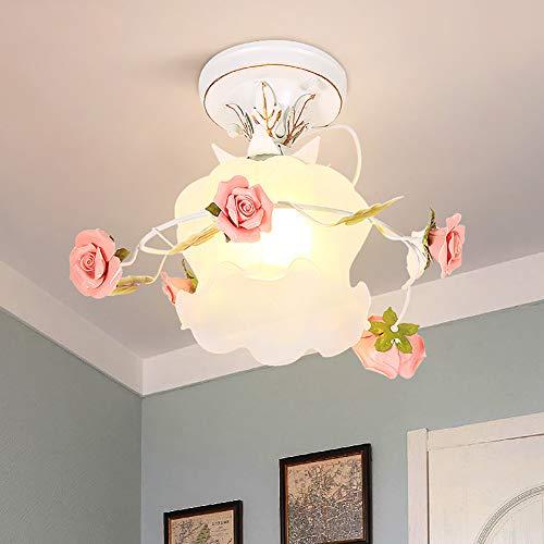 Korridor Lampe Landhausstil Rosa Blumen Deckenlampe Kreative Keramik Rose Design mit Glas Lampenschirm Traditionell Drinnen Deckenbeleuchtung für Eingangshalle Schlafzimmer Deckenleuchte