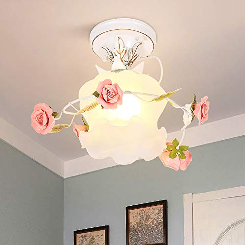 Landhausstil Rosa Deckenlampe Blumen Deckenleuchte Kreative Keramik Rose Design mit Glas Lampenschirm Traditionell Drinnen Deckenbeleuchtung für Eingangshalle Wohnzimmer Schlafzimmer Korridor Flur