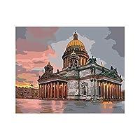 数字キットでペイント DIYキャンバス絵画 子供と大人のためのブラシとピグメントアーツクラフト付き、フレームなしの16 x20インチ-大聖堂