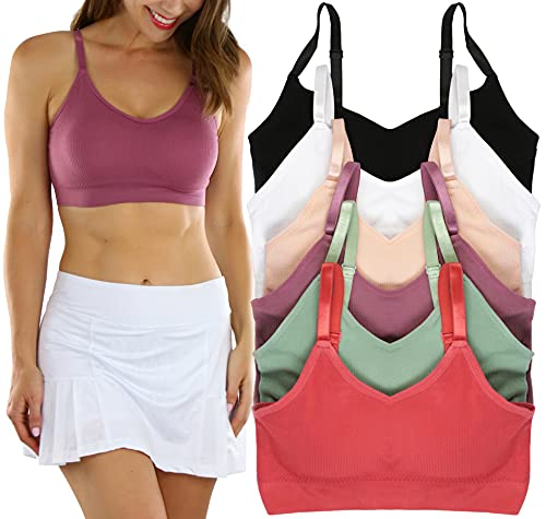 ToBeInStyle Women's Pack of 6 Matching Bras or Boyshorts - Soft Colors - L/XL