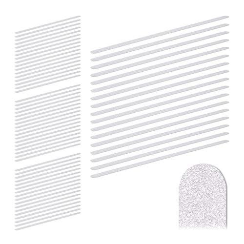 Relaxdays 68 x Anti Rutsch Streifen, 60 cm lang, Kunststoff, für Dusche & Treppe, selbstklebend, Anti-Rutsch-Sticker, transparent