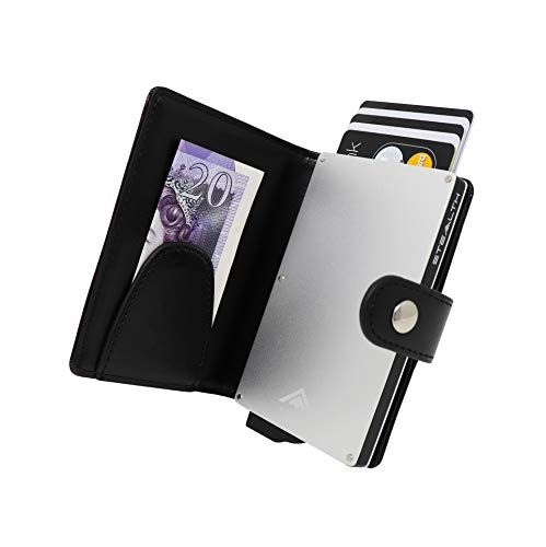 STEALTH Wallet RFID Card Holder - Minimalist NFC Blocking Pop Up Wallets - Slim Lightweight Cards Holders with Contactless Protection (Silver Aluminium with Black Leather and Money Clip)
