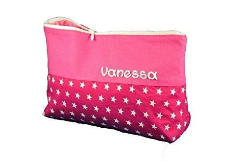 Waschtasche Sterne groß mit Namen pink, Sternebeutel, Kulturbeutel Damen, Waschtasche Mädchen, Geschenke für Mama, Valentinsgeschenk