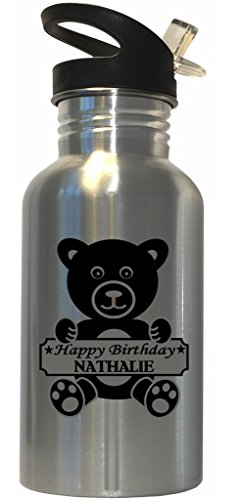 Custom Image Factory Happy Birthday Nathalie Stainless Steel Water Bottle Straw Top