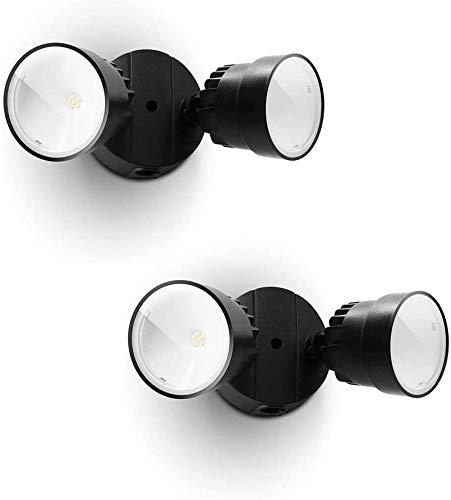 2 Packs LUTEC P6221B 1130 Lumen 15 Watt 28 LED Dual-Head Floodlight Outdoor, Waterproof Exterior Security Wall Light for Patio, Garden,Yard-Black