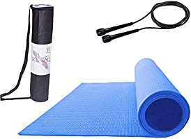 Roseate® Yoga Mat 4MM Large with Free Skipping Rope & Carrying Bag High Density Anti-Skid for Men & Women Fitness...