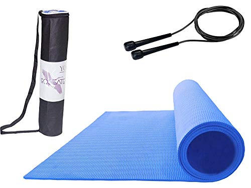 Roseate® Yoga Mat 4MM Large with Free Skipping Rope & Carrying Bag High Density Anti-Skid for Men & Women Fitness Flooring Workout Sweat Proof for Gym/Home/Outdoor Workout (Blue)