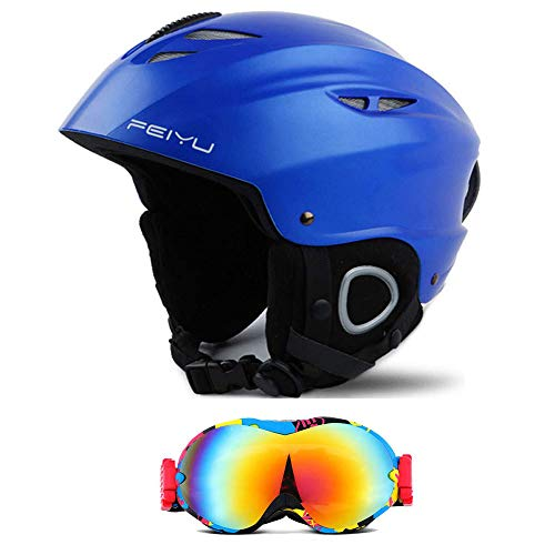 Liujie Skihelm, sporthelm, outdoor-sporthelm, met afneembare oorbeschermers en fluwelen binnenvoering, skibril, voor mannen, vrouwen en jongeren