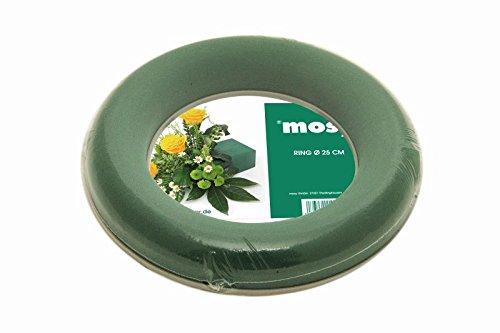MOSY Steckschaum - Ring, Kranz, Steckmasse, rund, 30 cm Durchm, f. frische Blumen-Gestecke, Tisch-Deko Hochzeit