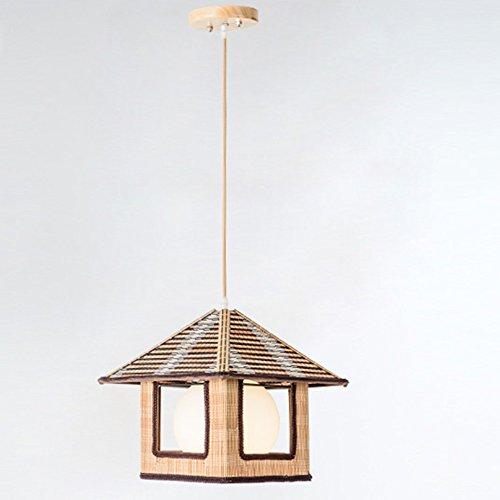 Lampenkap Basket Cottage Styling -natuur bamboe lampen handgemaakte lampenkap, vierkant, als hanglamp voor binnenverlichting, ruimteverlichting, exotische kamerlamp 31x31x29cm E27 (zonder lamp)