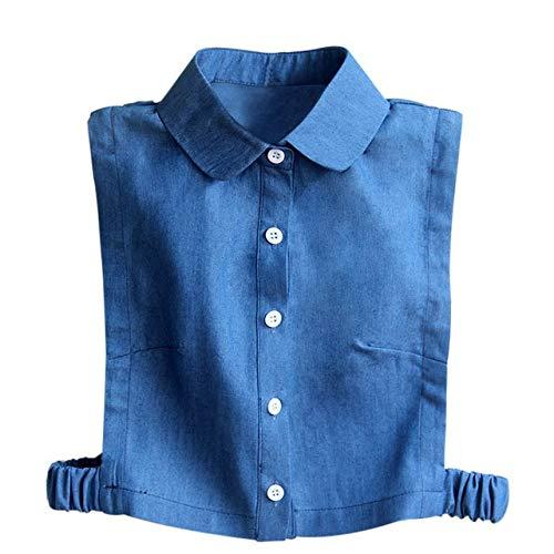 WATERMELON Camisa de Las Mujeres de Corea Desmontable Collares de Diamante de Cristal Perlas Vaquero...