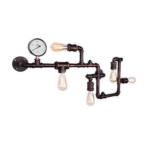 Lingkai Vintage Industrial Retro Metall Wasserrohr Wandleuchte mit fünf Edison Lichtquellen Steampunk Wandleuchte mit rotem Rost fertig