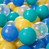 KiddyMoon 100/6Cm ∅ Balles Colorées Plastique pour Piscine Enfant Bébé Fabriqué en EU, Turquoise/Bleu/Jaune/Transparent
