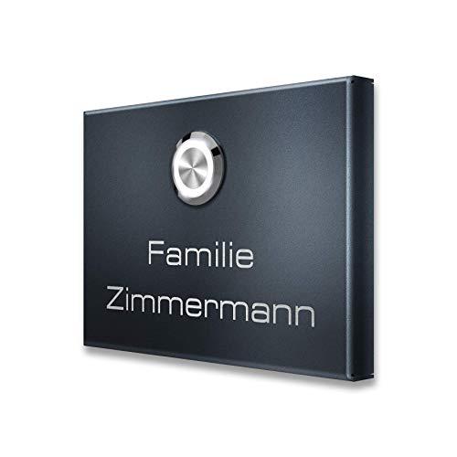 Metzler Edelstahl Aufputz Funkklingel mit LED-Drucktaster - Anthrazit RAL 7016 - mit zusätzlichem Funk-Sender MT3.0 - Größe: 110 x 80 mm (1 Taster)
