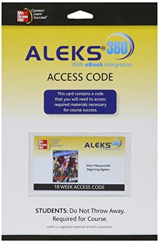 ALEKS 360 Access Card 18 Weeks for Beginning Algebra