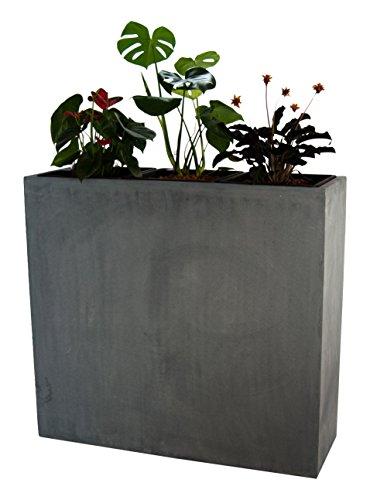 Pflanztrog Blumentrog Raumteiler Trennelement Fiberglas rechteckig LxBxH 84x30x80cm grau