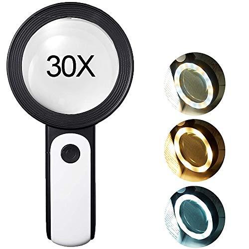 TOCYORIC Lupe mit Licht Leselupe, 30X Lupe mit 18 LED Licht, Handlupe Leselupe mit 3 Beleuchtungsmodi, Doppelglaslinse zum Kleingedruckten, Hobbies, Münzen, Briefmarken, Handwerk und Schmuck
