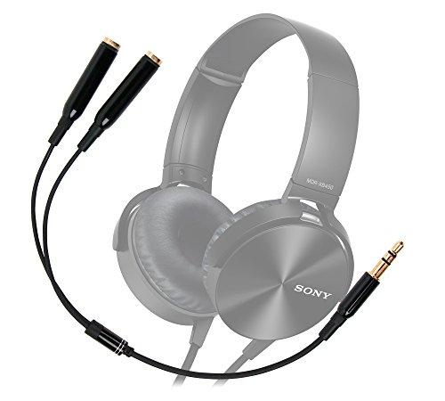 DURAGADGET Práctico Divisor De Auriculares para Auriculares Sony MDRRF855RK.EU8 / MDR-XB450AP / MDR-ZX310APB / MDR-ZX310APL / MDR-ZX310APW.CE7 - Entrada De 3.5mm